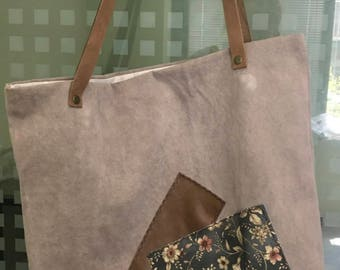 handmade canvas tote bag with leather straps + leather details