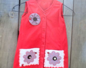 Handmade Upcycled Girl's dress from Men's shirt, Size 3, Ladybug dress, Red dress