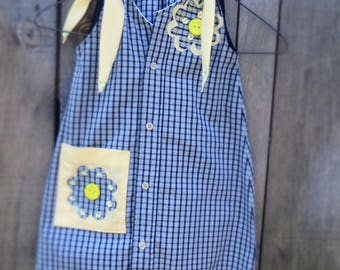 Handmade Upcycled Girl's Shirt dress from Men's shirt.  Age 3. Blue and yellow dress.