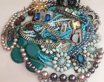 Broken Jewelry Lot Vintage Mod Rhinestone Harvest Repair Upcycle Crafts Rhinestones Costume Jewelry