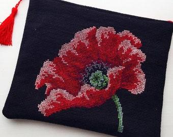 Poppy Crossstitch Handbag/Clutch
