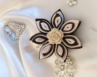 chocolate satin ribbon and ivory satin - A flower you choose the backing: hair clip, brooch, comb or headband
