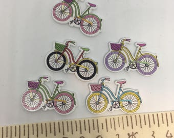 Bicycle wood buttons sets of 10