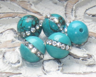 Turquoise with Crystal Inlay Round Beads, Turquoise and Crystal Beads, Crystal Inlaid Beads, Turquoise Beads