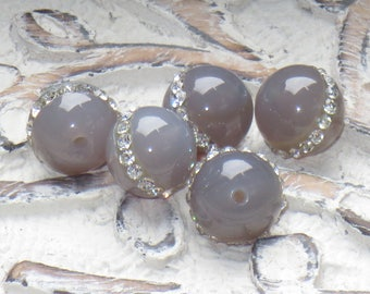 Grey Agate with Crystal Inlay Round Beads, Agate and Crystal Beads, Crystal Inlaid Beads, Grey Agate Round Beads