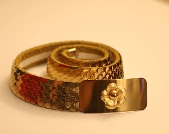 Vintage Snake Dragon Fish Scale Stretch Belt Disco Gold Tone Retro Floral Buckle