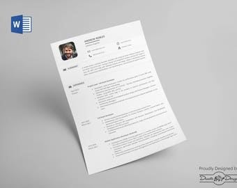 word resume template etsy - Resume Templates Download Word