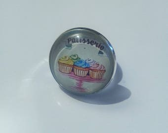 "silver plated Adjustable ring ""bakery"""