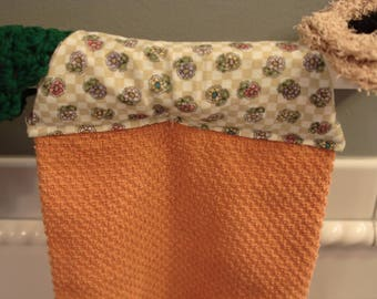 Kitchen Towel / Hanging Kitchen Towel Set with Crochet Wash Cloth and Scrubby /  Orange Kitchen Towel / Hanging Towels