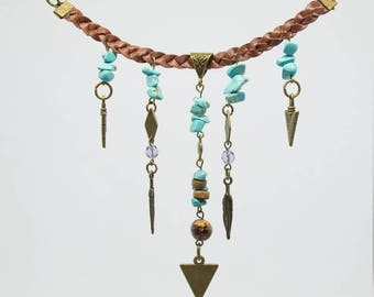 Indian's spirit of braided leather necklace