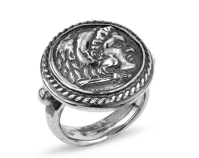 "Silver Handmade Ancient Replica Coin Ring ""Julius"""
