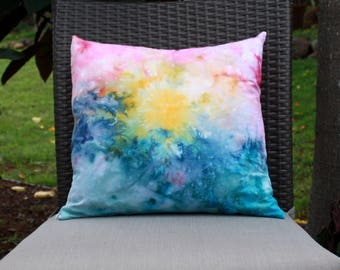 Ice Dyed Maui Sunset Inspired Throw Pillow Cover- 18x18