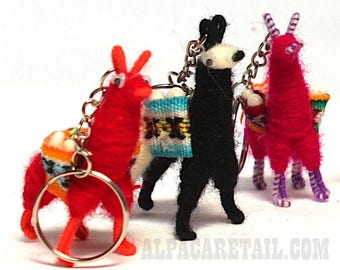 Tiny Llama Keychain, ethnic decoration, gift bag accessories, boho llama charm bag Andean Collectible Handcrafted Miniature Figurine