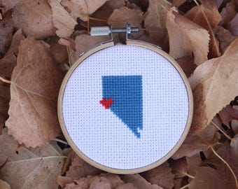 Mini Custom State Love Cross Stitch