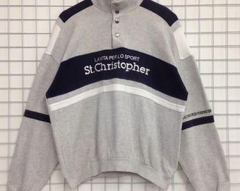 Vintage St. Cristopher Sweatshirts Half Button Nice Design