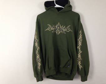 Olive green n black tribal embroidered hoodie size L