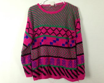 90s pink geometric sweater size L