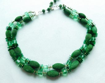 Unique Vintage Two Strand Flocked Green Bead Necklace