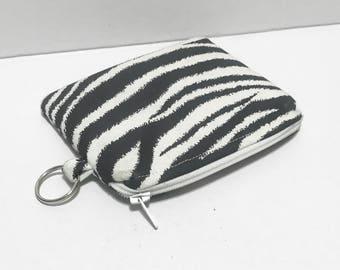 Small zebra zipper pouch, black and white pouch