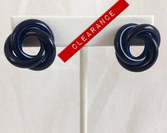 CLEARANCE Love Knot Navy Blue Metal Pierced Vintage Earrings