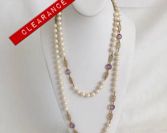 CLEARANCE Faux Pearl Necklace With Faux Purple Swarovski Crystals, Gold Tone, Long Necklace, Vintage