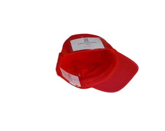 Red Military Cadet Hat with Pockets