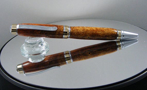 Handcrafted Cigar Pen in 24kt Gold and Chrome Finish with Afzilia Snakeskin