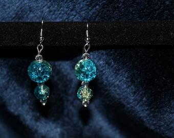 Blue ball drop earrings
