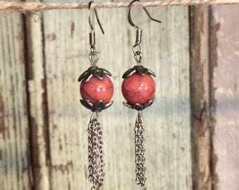 Dangled earrings, beaded earrings, silver earrings, drop earrings, jewelry, pink earrings, marbled beads