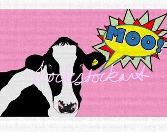 Pop Cow Print A4