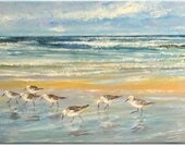 Sandpipers... seascape animal original painting, nature art | wedding birthday gift | ready to hang 'home sweet home' or for your office