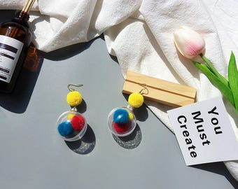 Pom pom earrings-- fluffy earrings -handmade earrings-Yellow,Red,Blue,Pink