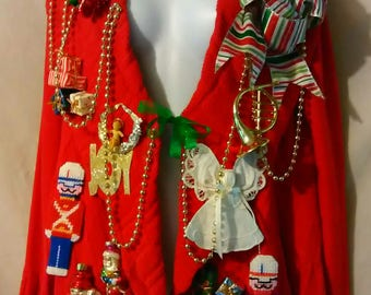 Red Tacky Ugly Christmas Sweater Women Size Small