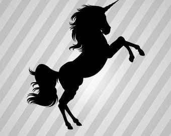 Unicorn Silhouette  - Svg Dxf Eps Silhouette Rld Rdworks Pdf Png Ai Files Digital Cut Vector File Svg File Cricut Laser Cut