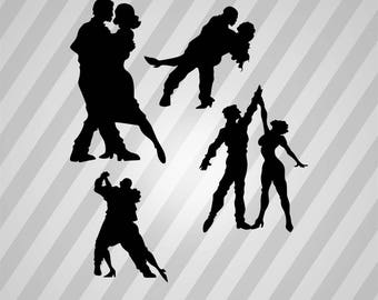 Dancing Silhouette - Dxf, Svg, Eps, Rld, Rdworks, Pdf, Png And Ai Print Files, Digital Cut, Vector File, Svg File