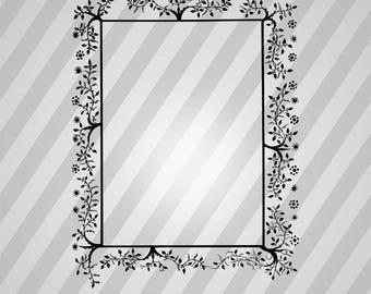 Leafy frame 13 (black) - Svg Dxf Eps Silhouette Rld RDWorks Pdf Png AI Files Digital Cut Vector File Svg File Cricut Laser Cut
