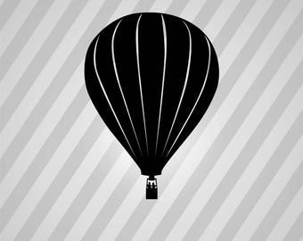 Hot Air Balloon Silhouette - Svg Dxf Eps Silhouette Rld RDWorks Pdf Png AI Files Digital Cut Vector File Svg File Cricut Laser Cut