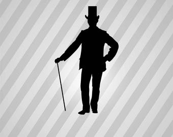 gentleman Silhouette - Svg Dxf Eps Silhouette Rld RDWorks Pdf Png AI Files Digital Cut Vector File Svg File Cricut Laser Cut