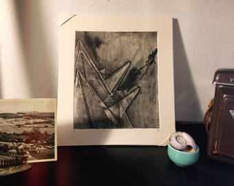 Three Cranes, Collagraph, Printmaking, Print, Original print, Oragami, One of a kind, Collagraphy