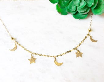 Gold crescent moon and star charm choker necklace