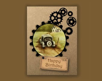 Rustic Birthday Card for Father, Vintage Car Card for Him, Man Card, Old Cars Card, Give Him the Gears, Old Car Scenery Oil Painting Print