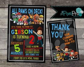 Paw Patrol birthday invitation for boy birthday party, Paw Patrol birthday invite, Paw Patrol invitation for boy, Paw Patrol birthday