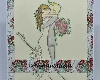 Handmade Wedding Card - Anniversary Card - Congratulations Card - Blue Floral Card - Bride and Groom Card - Homemade Card