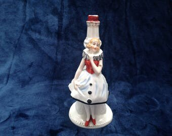 China figurine clown girl lamp base figurine. Circa 1930s