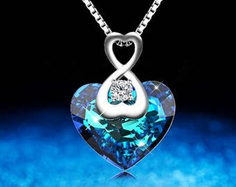 Crystals from Swarovski-necklace ' Crystal Blue Heart: Love '