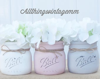 Set of 3 painted mason jars,mason jar decor,mason jar centerpiece,rustic decor,farmhouse decor,country chic decor,wedding decor,baby shower