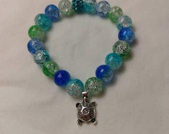 Glass Crackle beads with Turtle Charm Stretch Bracelet