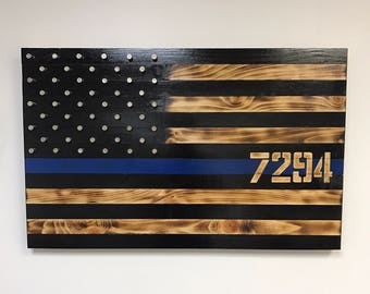 Rustic Thin Blue Line Wooden Flag with Shell Casing Stars, Wood American Blue Line Flag, Hand-Crafted, TBL Wall Art