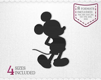 Mickey Mouse Silhouette Disney Embroidery Machine Design - 4 Sizes - INSTANT DOWNLOAD - Applique, Embroidery, Designs