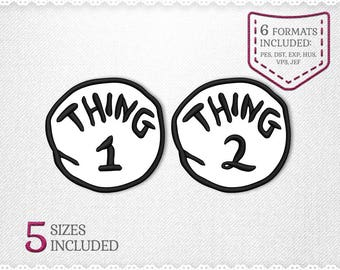 Thing 1 & Thing 2 Applique Machine Design - 5 Sizes - INSTANT DOWNLOAD - Applique, Embroidery, Designs